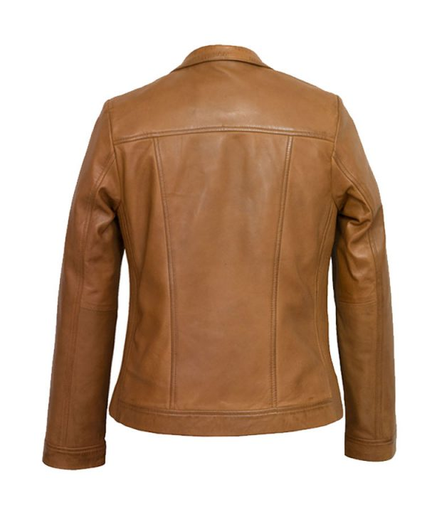 Women's Tan Leather Jacket 2