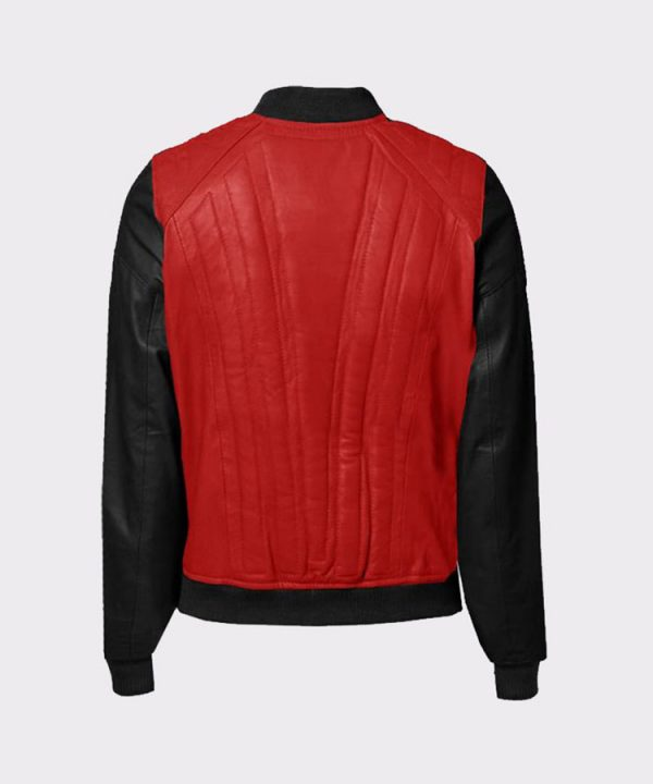 Women Fashion Cowhide Red and Brown Leather Bomber JacketWomen Fashion Cowhide Red and Brown Leather Bomber Jacket