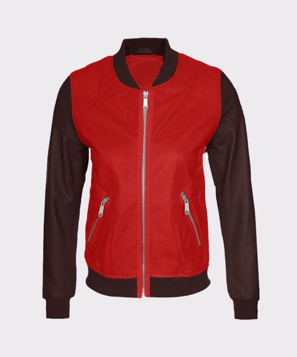Women Fashion Cowhide Red and Brown Leather Bomber Jacket1