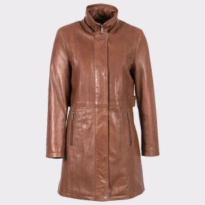 Women Hooded Classic Leather Coat in Dark Tan