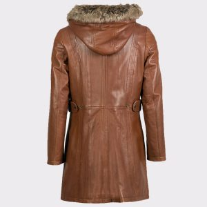 Women Hooded Classic Leather Coat in Dark Tan back
