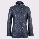 Women Navy Aniline Fashion Leather Coat