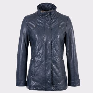 Women Navy Aniline Fashion Leather Coat
