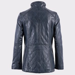 Women Navy Aniline Fashion Leather Coat back
