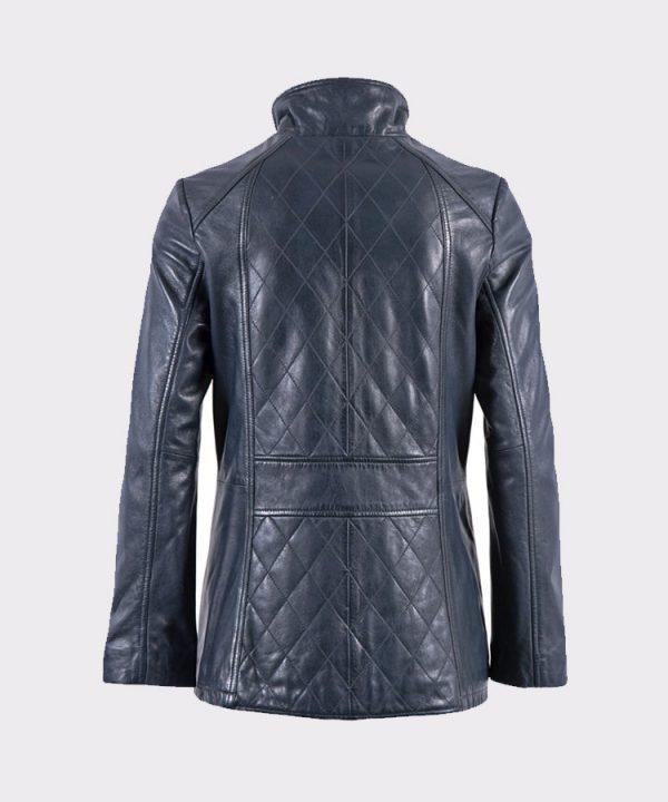Women Navy Aniline Fashion Leather Coat back