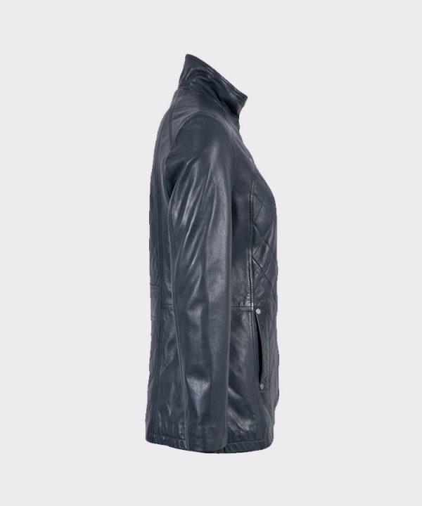 Women Navy Aniline Fashion Leather Coat1