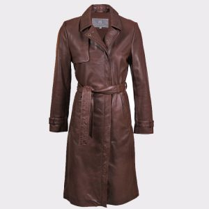 Women PECAN BROWN LONG LEATHER TRENCH COAT1