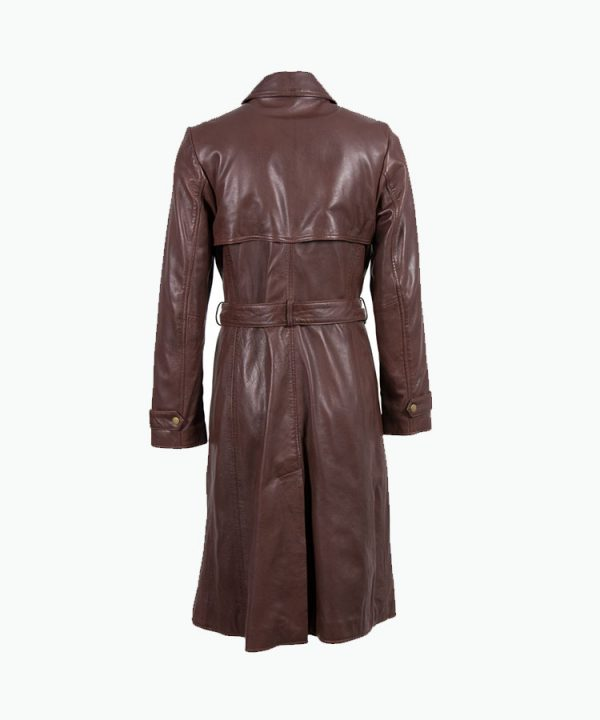 Women Pecan Brown Long Leather Trench Coat back