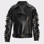 Women Stylish Zendaya Coleman Biker Leather Black Jacket
