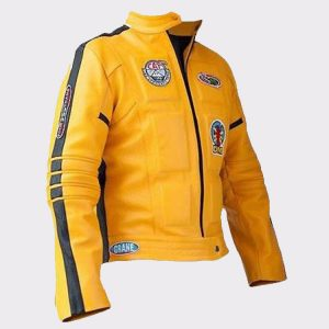 Women Uma Thurman Kill Bill Yellow Leather Motorcycle Jacket (2)