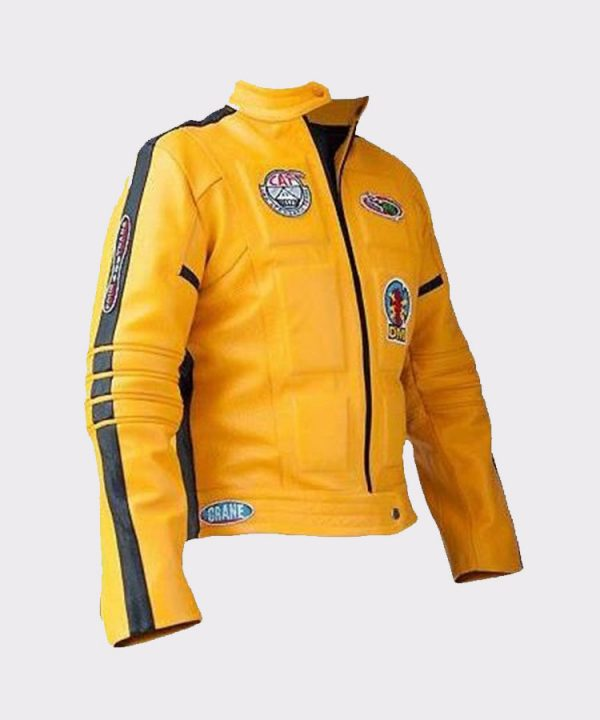 Women Uma Thurman Kill Bill Yellow Leather Motorcycle Jacket (2)
