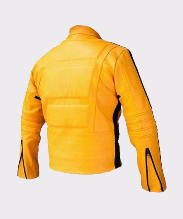 Women Uma Thurman Kill Bill Yellow Leather Motorcycle Jacket