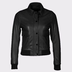 Women's Fashion Bomber Cowhide Leather Black Jacket