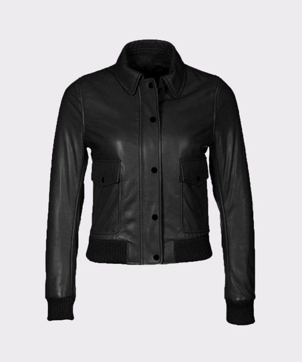 Women's Fashion Bomber Cowhide Leather Black Jacket