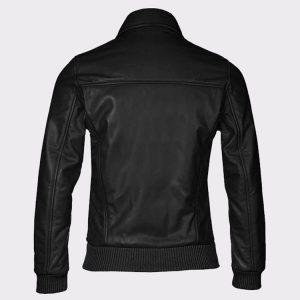 Women's Fashion Bomber Cowhide Leather Black Jacket1