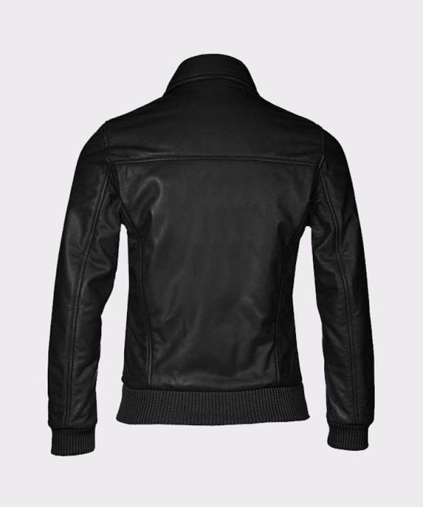 Women's Fashion Bomber Cowhide Leather Black Jacket1