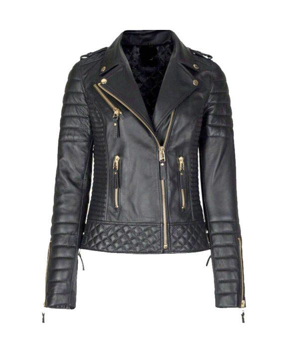 Women's Genuine Lambskin Leather Slim fit Ladies Motorcycle Biker Jacket