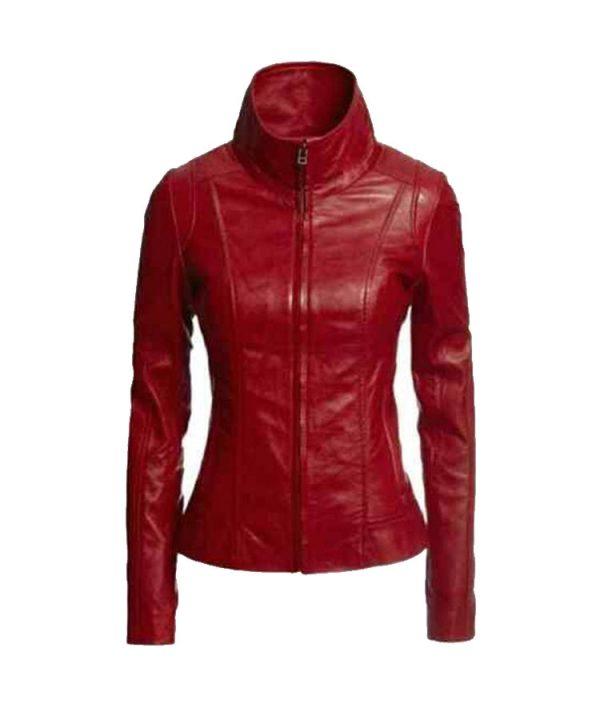 Womens Genuine Lambskin Real Leather Jacket Biker Slim Motorcycle Red Jacket