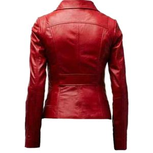 Womens Genuine Lambskin Real Leather Jacket Biker Slim Motorcycle Red Jacket1