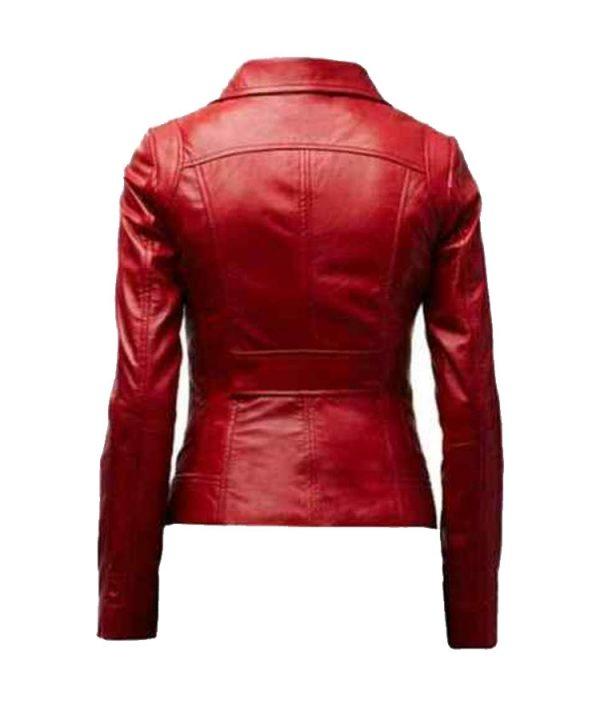 Womens Genuine Lambskin Real Leather Jacket Biker Slim Motorcycle Red Jacket1