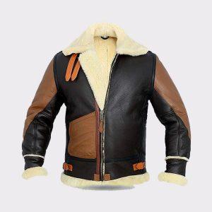 Men B3 Bomber Jacket Aviator Real Shearling Two Tone Bomber Sheepskin Leather Jacket
