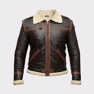 B3 Aviator Leather Jacket Mens – Genuine Lambskin Real Leather Jacket Faux Fur