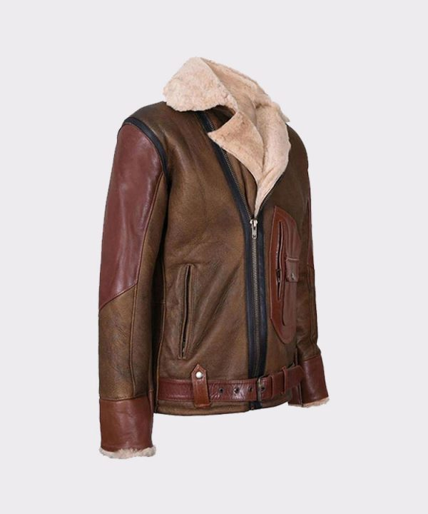 1Mens Aviator Raf B3 Leather Bomber Flying Jacket 3