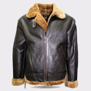 MENS BROWN B3 SHEARLING SHEEPSKIN WORLD WAR 2 FUR LEATHER FLYING AVIATOR JACKET
