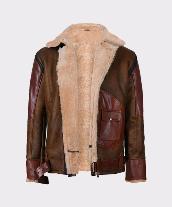 Mens Aviator Raf B3 Leather Bomber Flying Jacket 3