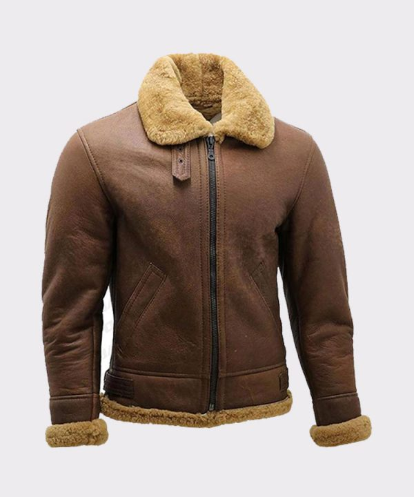 Men's Brown B3 Shearling Sheepskin WW2 Bomber Leather Flying Aviator Jacket 1