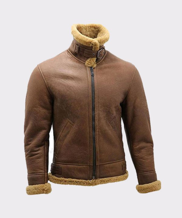 Men's Brown B3 Shearling Sheepskin WW2 Bomber Leather Flying Aviator Jacket 2