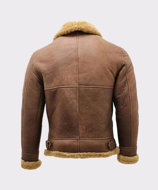 Men's Brown B3 Shearling Sheepskin WW2 Bomber Leather Flying Aviator Jacket 5