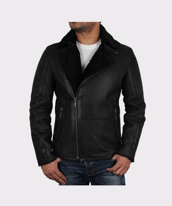Men's Luxury Double Aviator Black Real Shearling Sheepskin Leather Flying Jacket 2