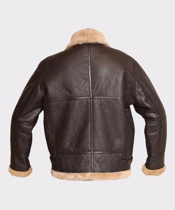 RAF Aviator Bomber Real Shearling Real Sheepskin Brown Leather Jacket 2