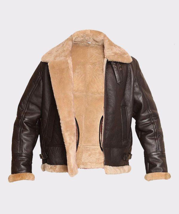 RAF Aviator Bomber Real Shearling Real Sheepskin Brown Leather Jacket 3