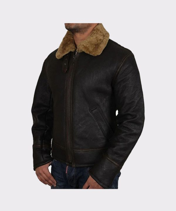 Winter Warm Pilot 6 Puffer Men's Hooded Bomber Real Lambskin Leather Jacket