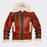 Aviator Sheepskin RAF Mens B6 Waxed Bomber Shearling Two Tone Style Leather Jacket