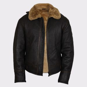 Men's Real Shearling Sheepskin Leather Flying Jacket Aviator Ginger Brown