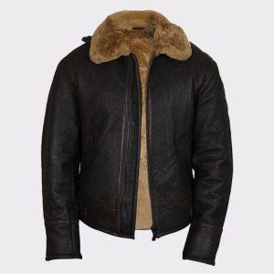 Men's Real Shearling Sheepskin Leather Flying Jacket Aviator Ginger Brown