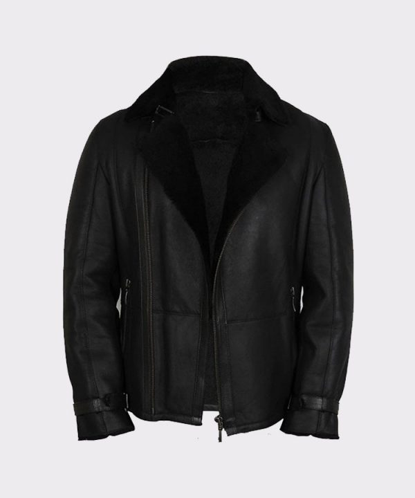 Men's Luxury Double Aviator Black Real Shearling Sheepskin Leather Flying Jacket