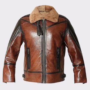 B3 RAF Aviator Men's Shearling Flying Bomber Genuine Leather Jacket Brown Shearling Leather