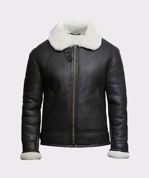 Men's Cream Wool Aviator B3 Shearling Real Sheepskin Leather Bomber Flying Pilot Jacket