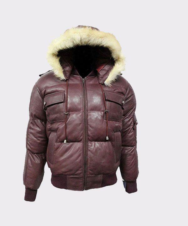 Winter Warm Pilot 6 Puffer Men's Hooded Bomber Real Lambskin Leather Jacket