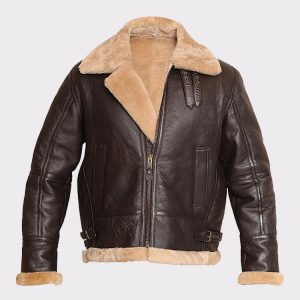 RAF Aviator Bomber Real Shearling Real Sheepskin Brown Leather Jacket