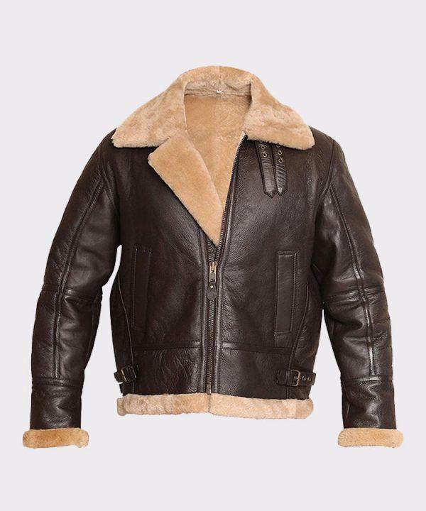 RAF Aviator Bomber Real Shearling Real Sheepskin Brown Leather Jacket