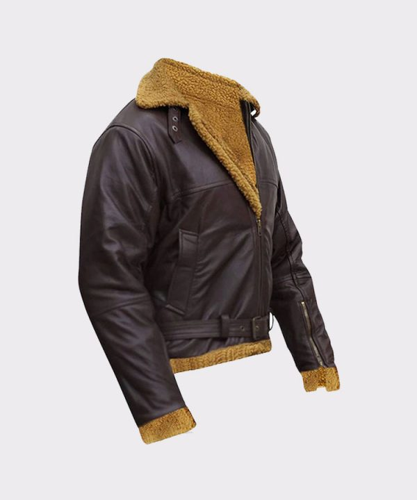 B3 Men Flying Aviator Winter Shearling Fur Pilot Sheepskin Bomber Leather Jacket 1