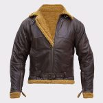 B3 Men Flying Aviator Winter Shearling Fur Pilot Sheepskin Bomber Leather Jacket