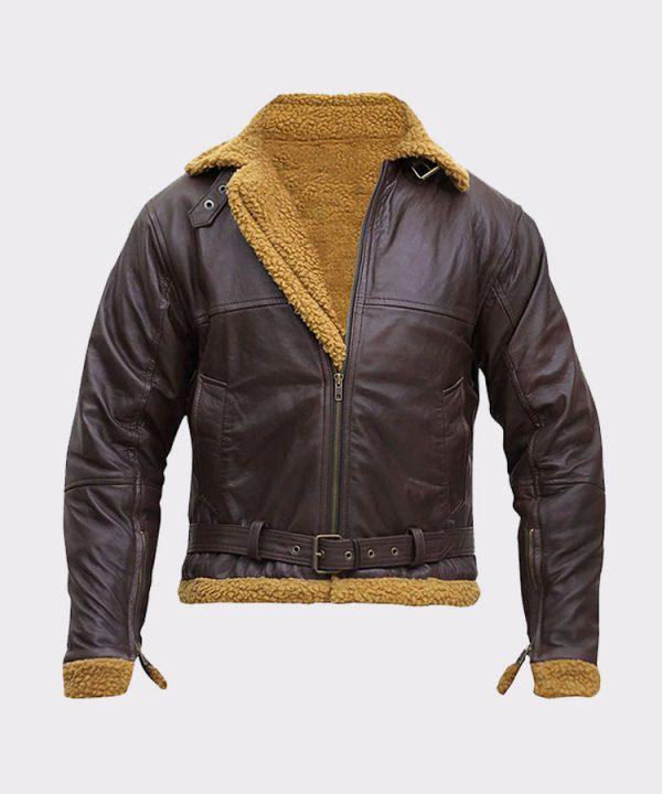 B3 Men Flying Aviator Winter Shearling Fur Pilot Sheepskin Bomber Leather Jacket