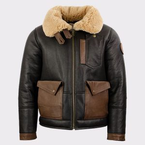 Chocolate Sheepskin Leather Bomber Jacket