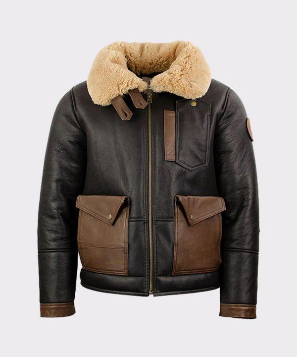 Chocolate Sheepskin Leather Bomber Jacket